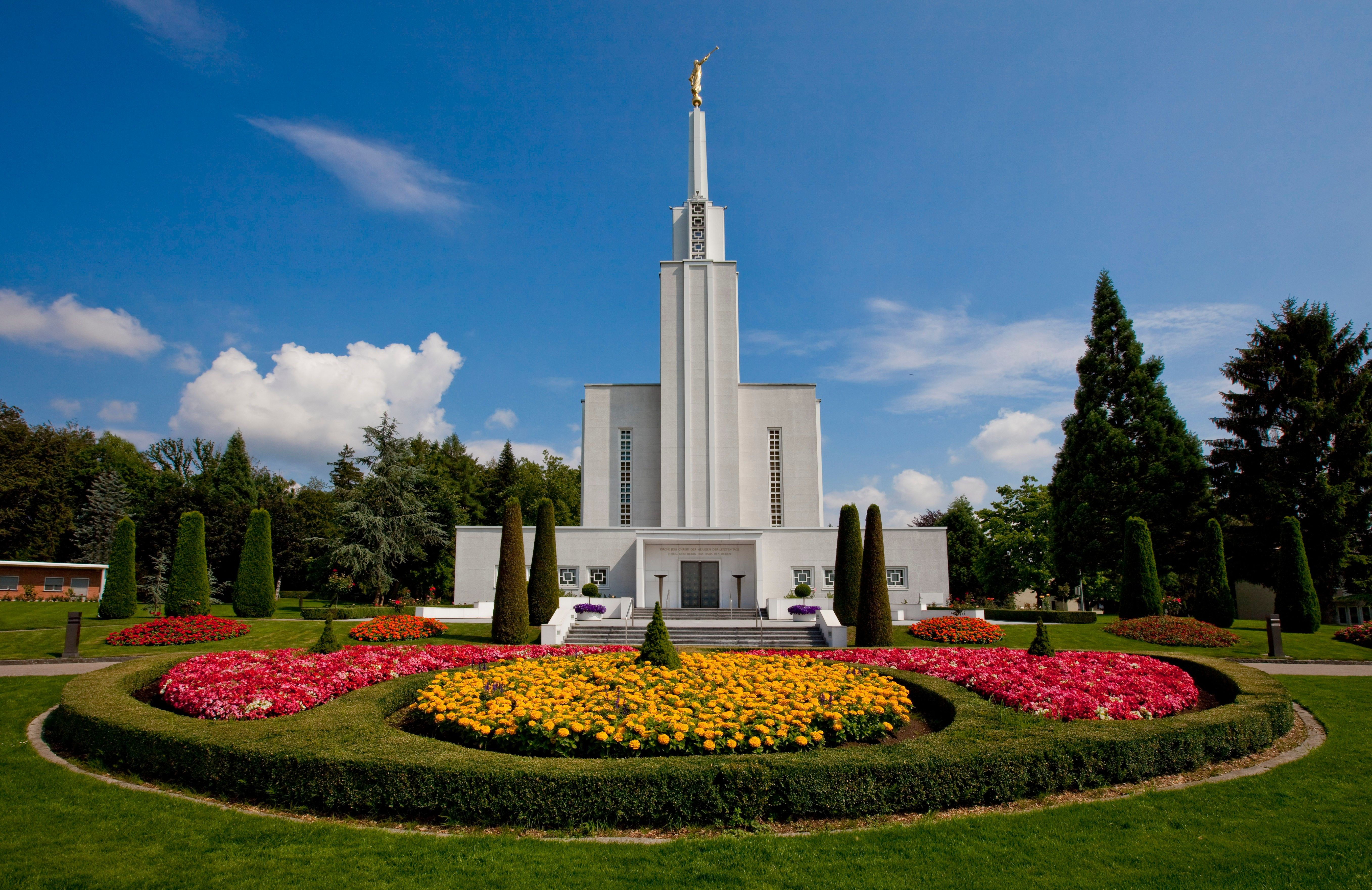 A view of the Bern Switzerland Temple and grounds during the day.