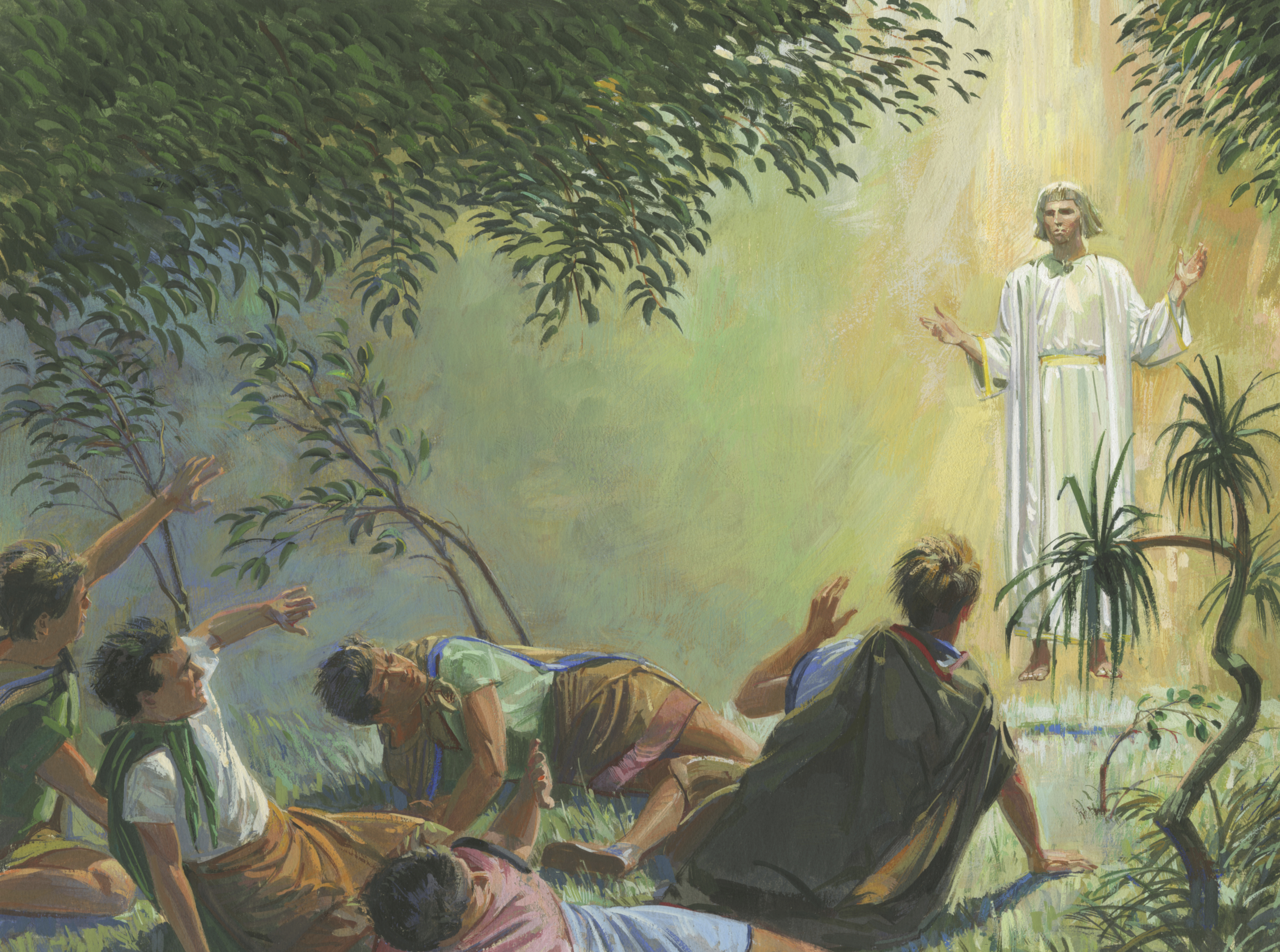 A painting by Jerry Thompson depicting an angel appearing to Alma and the sons of Mosiah; Primary manual 4-26