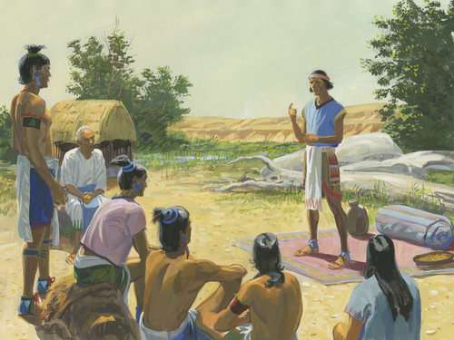 Samuel teaching Lamanites