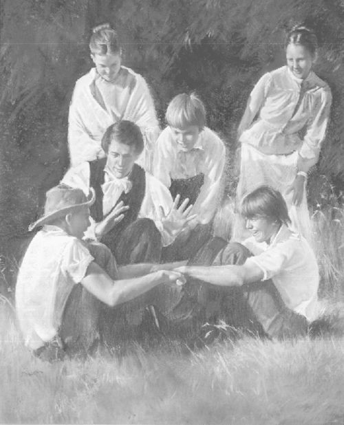 Joseph Smith and Nauvoo Youths Pulling Sticks