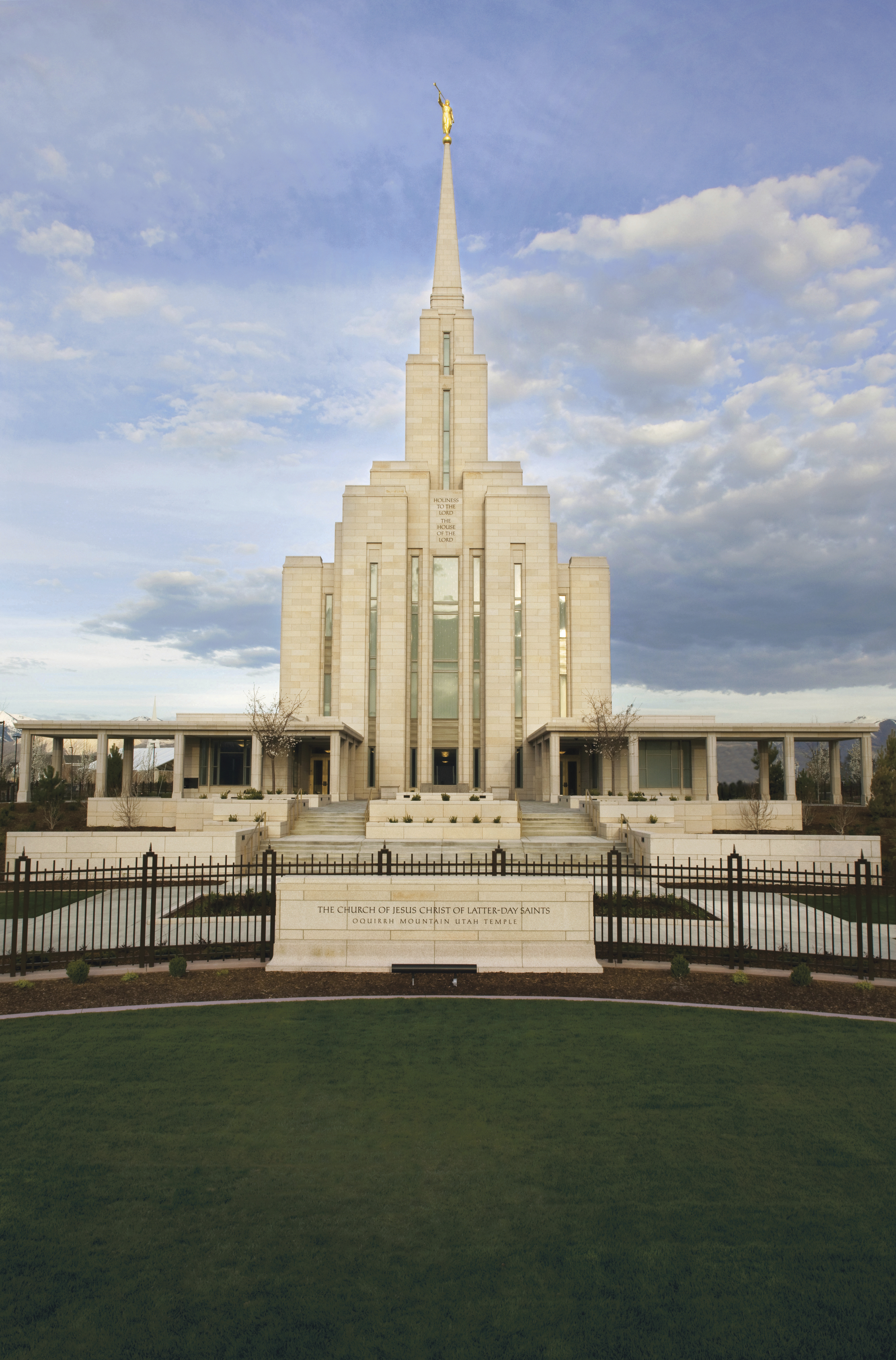The Oquirrh Mountain Utah Temple, including name sign and entrance.