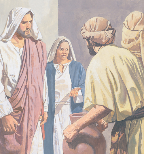 Jesus and Mary talking to servants