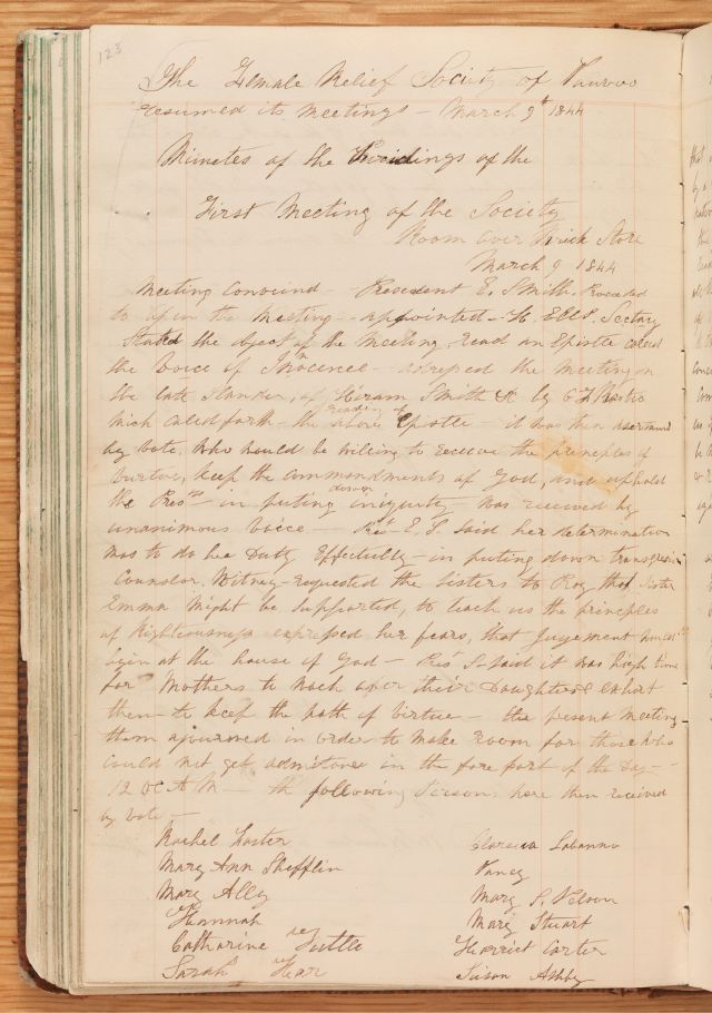 Relief Society Meeting Minutes, March 9, 1844