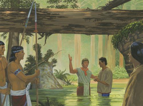 Lamoni being baptized