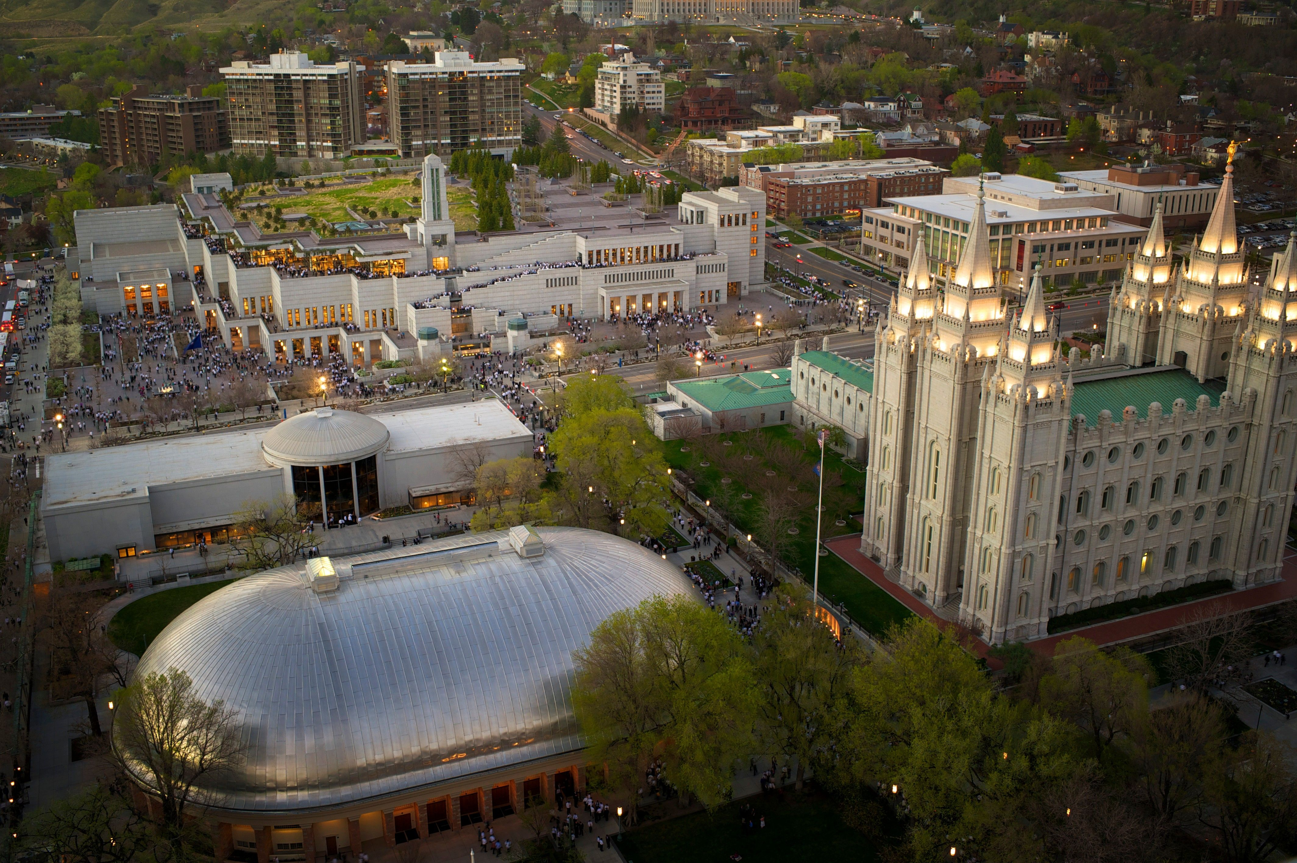 An aerial view of the temple, visitors' center, Tabernacle, and Conference Center on Temple Square.