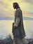 Cristo camina por la orilla de un lago