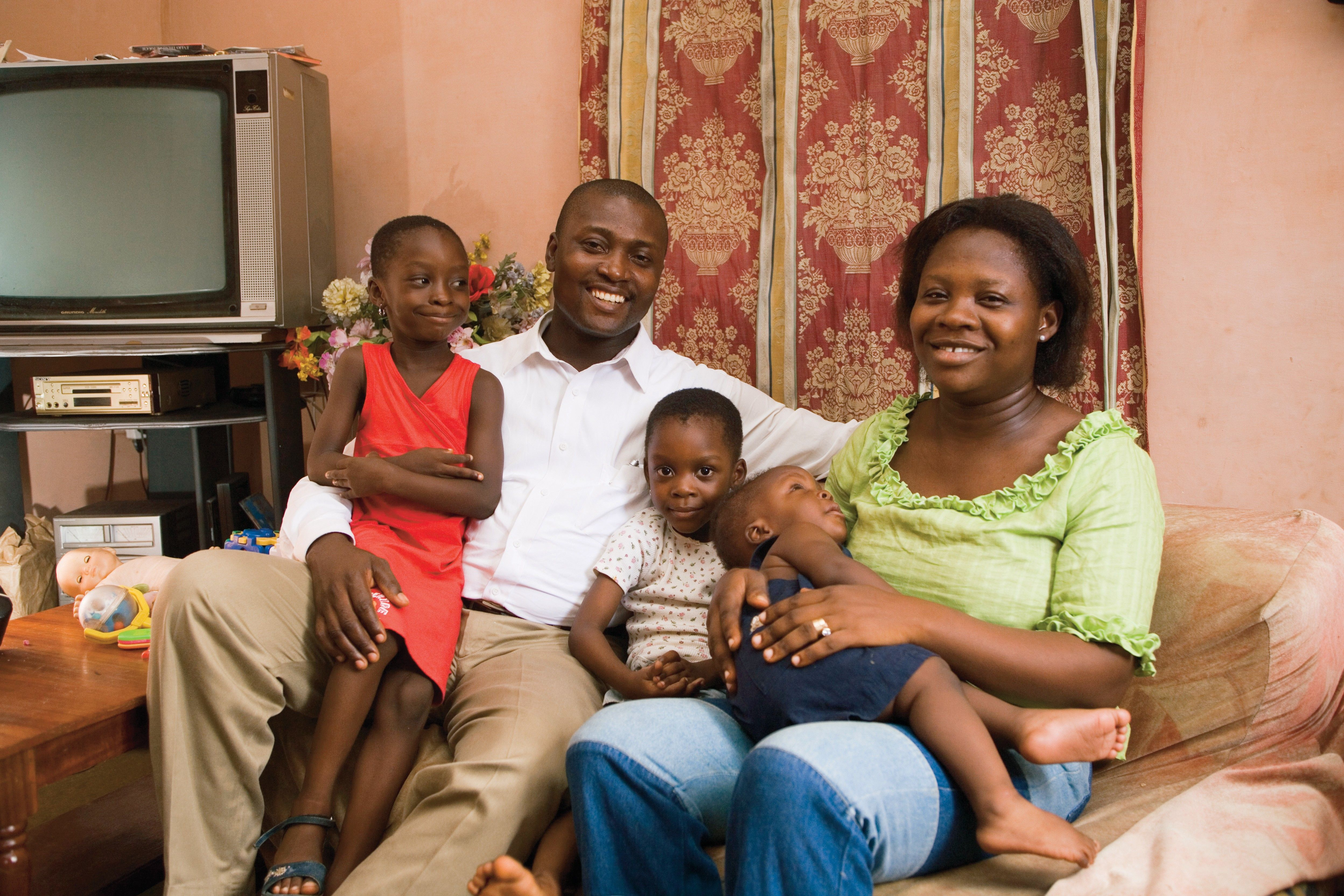 A family portrait in a home.