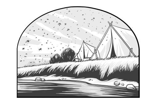 Saints V2 illustration - Flies Mosquitos Riverbank