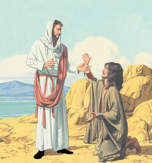 Jesus talking to man