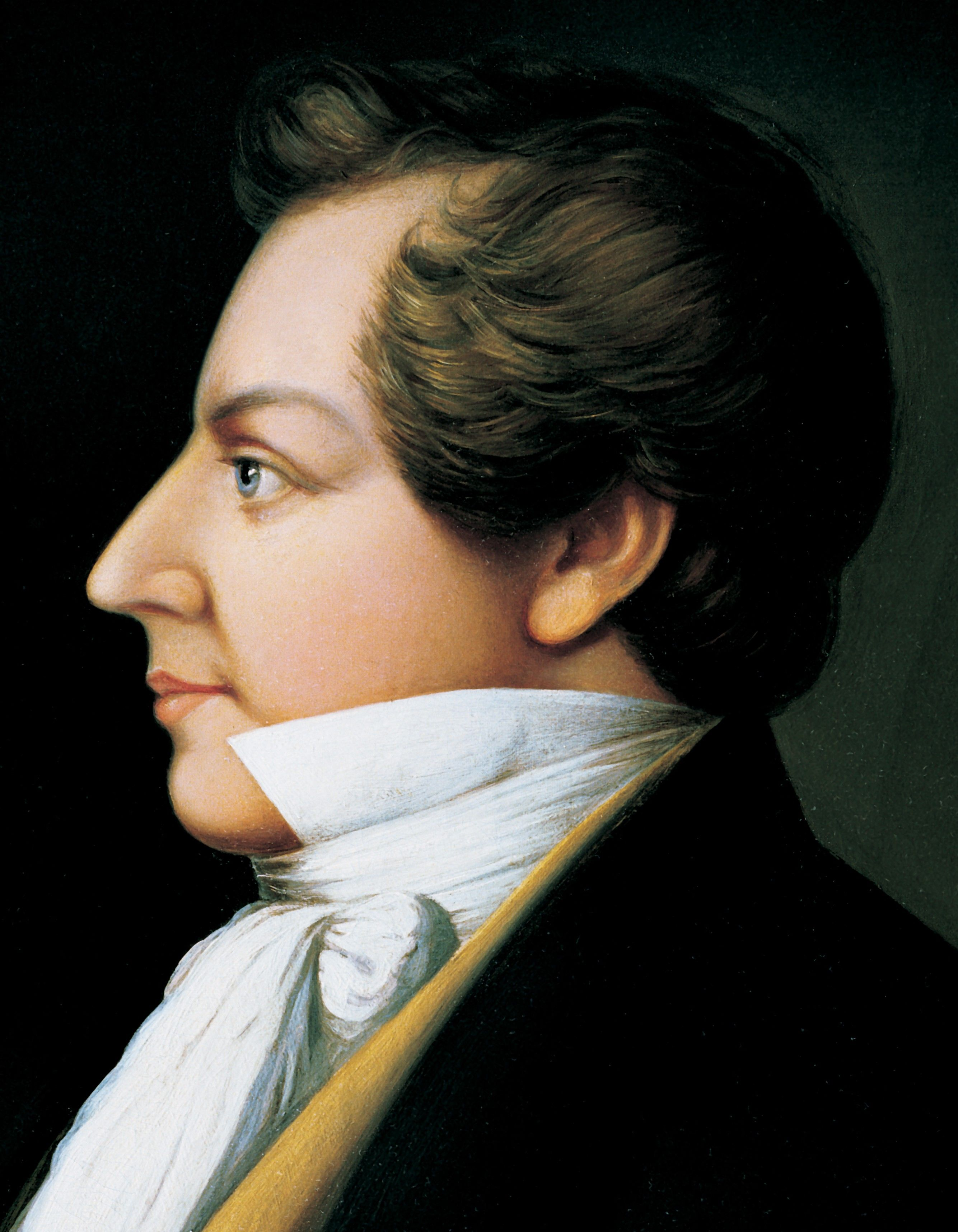 A portrait of Joseph Smith Jr., who was the first President of The Church of Jesus Christ of Latter-day Saints from 1830 to 1844; painted by Danquart Anthon Weggeland.