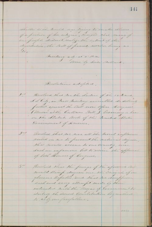 Resolutions adopted at protest meeting, January 6, 1870
