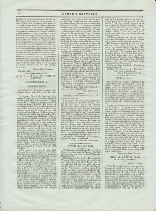 Reports from local Relief Societies published in the Woman's Exponent.