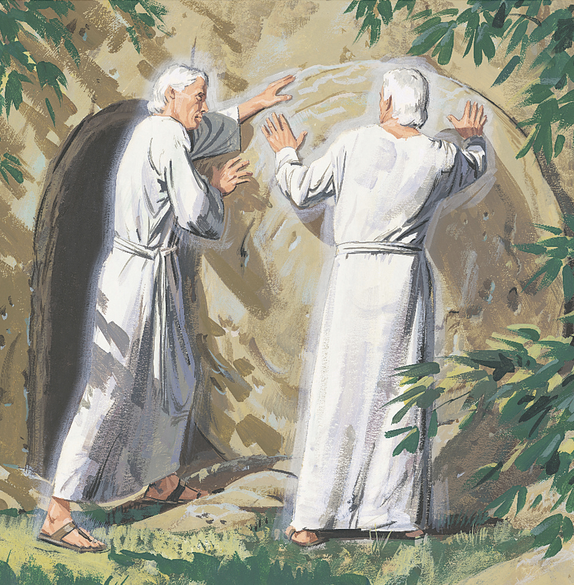 An illustration by Paul Mann showing two angels rolling the tomb's stone away.