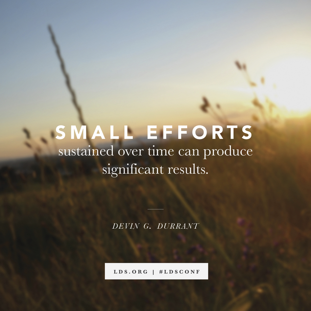"""A background of plants growing in a field at sunset, paired with a quote from Devin G. Durrant: """"Small efforts … produce significant results."""""""