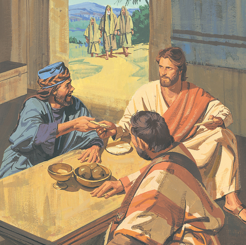 Jesus eating with some men
