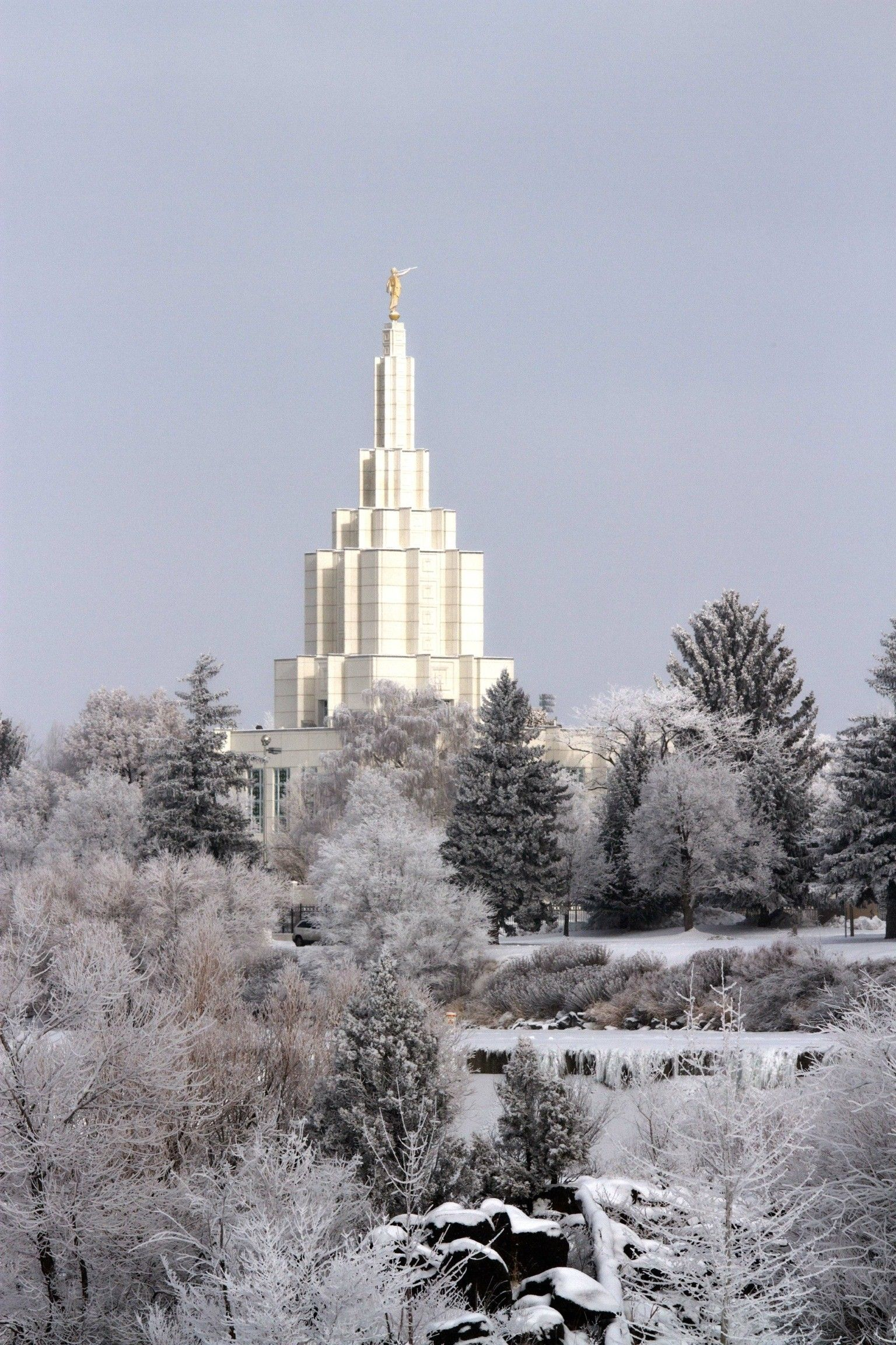 The spire of the Idaho Falls Idaho Temple in the winter.