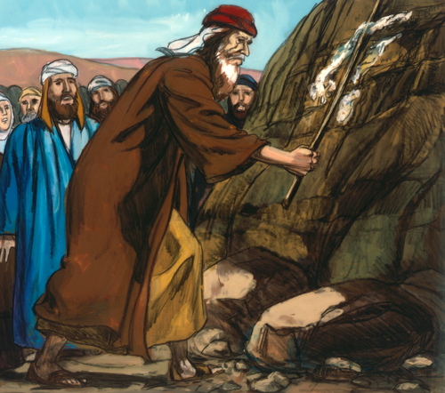 Moses retrieving water from rock