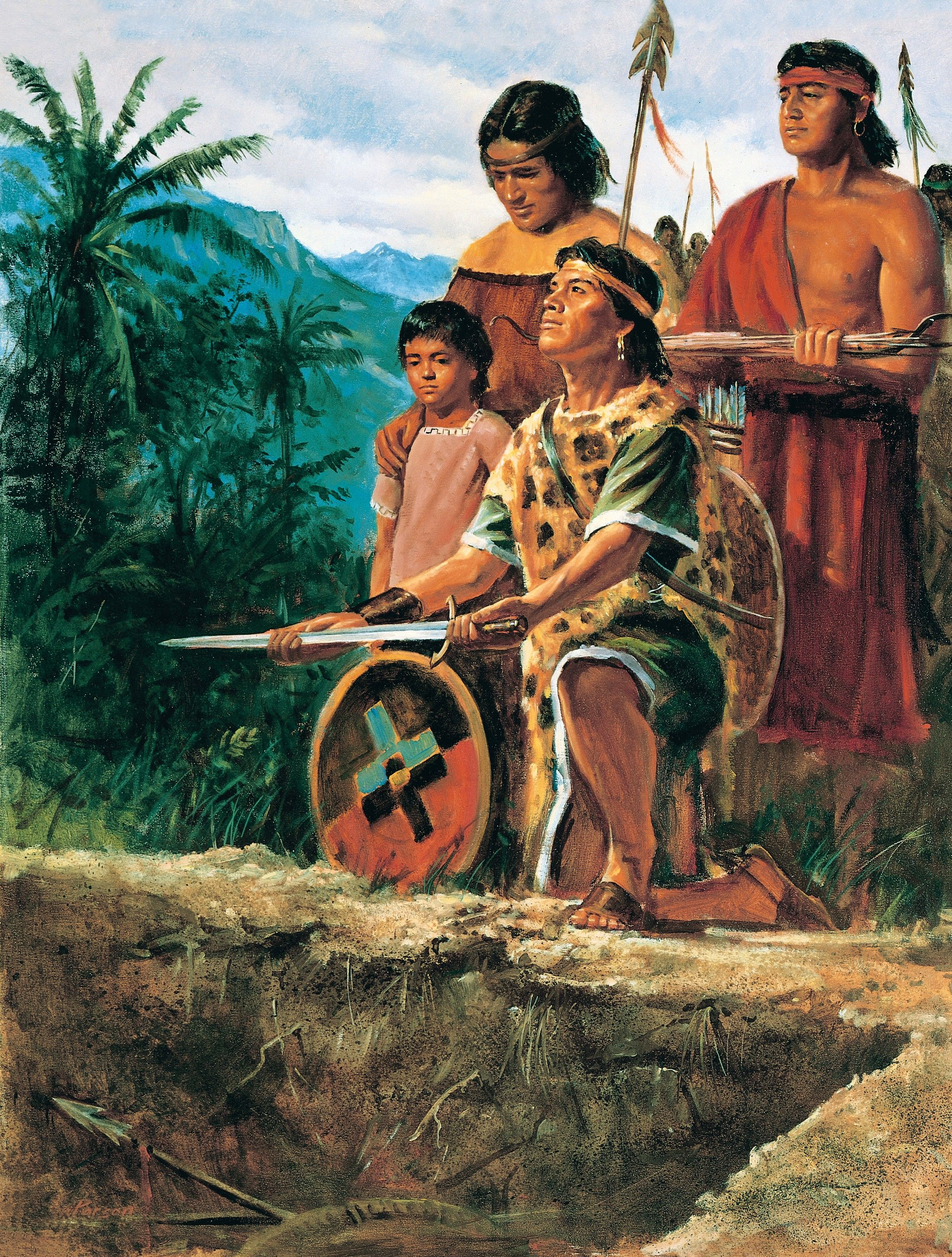 The Anti-Nephi-Lehies Burying Their Swords (62565), by Del Parson; GAK 311; Primary manual 3-54; Primary manual 4-33; Alma 24:17