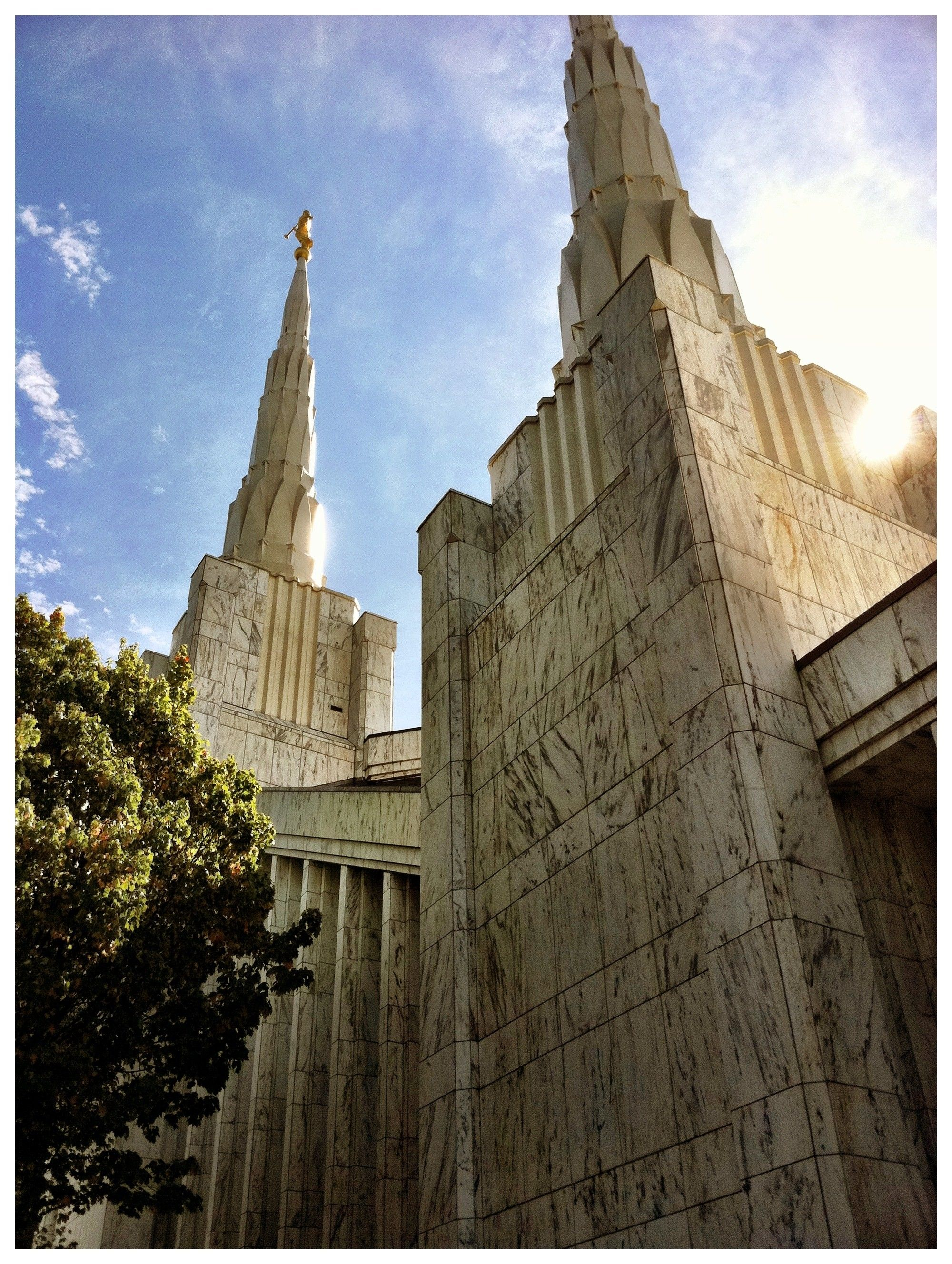 The Portland Oregon Temple spires, including the exterior of the temple.
