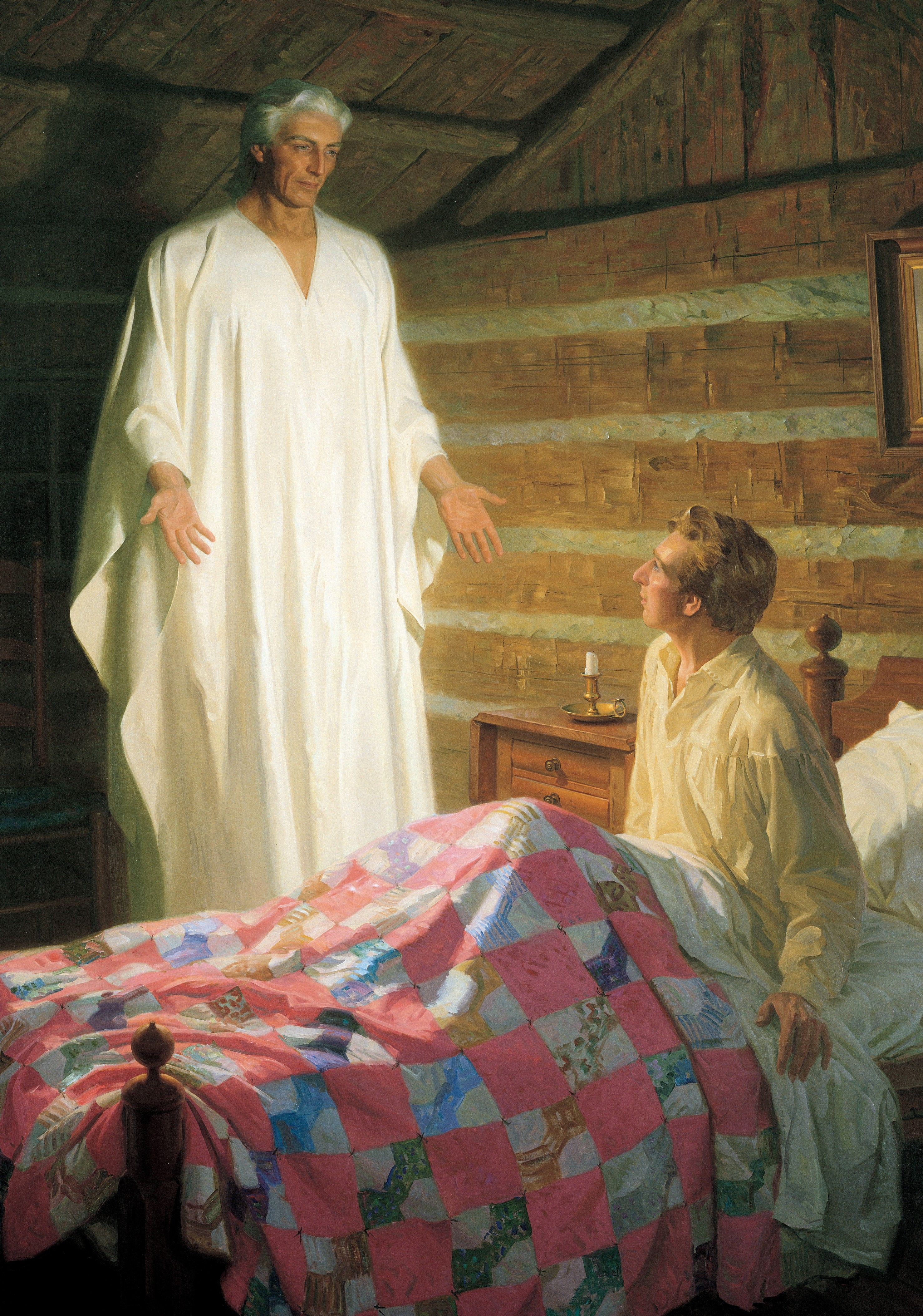 Moroni Appears to Joseph Smith in His Room (The Angel Moroni Appears to Joseph Smith), by Tom Lovell (62492); GAK 404; GAB 91; Primary manual 3-32; Primary manual 4-55; Primary manual 5-08; Joseph Smith—History 1:27–47