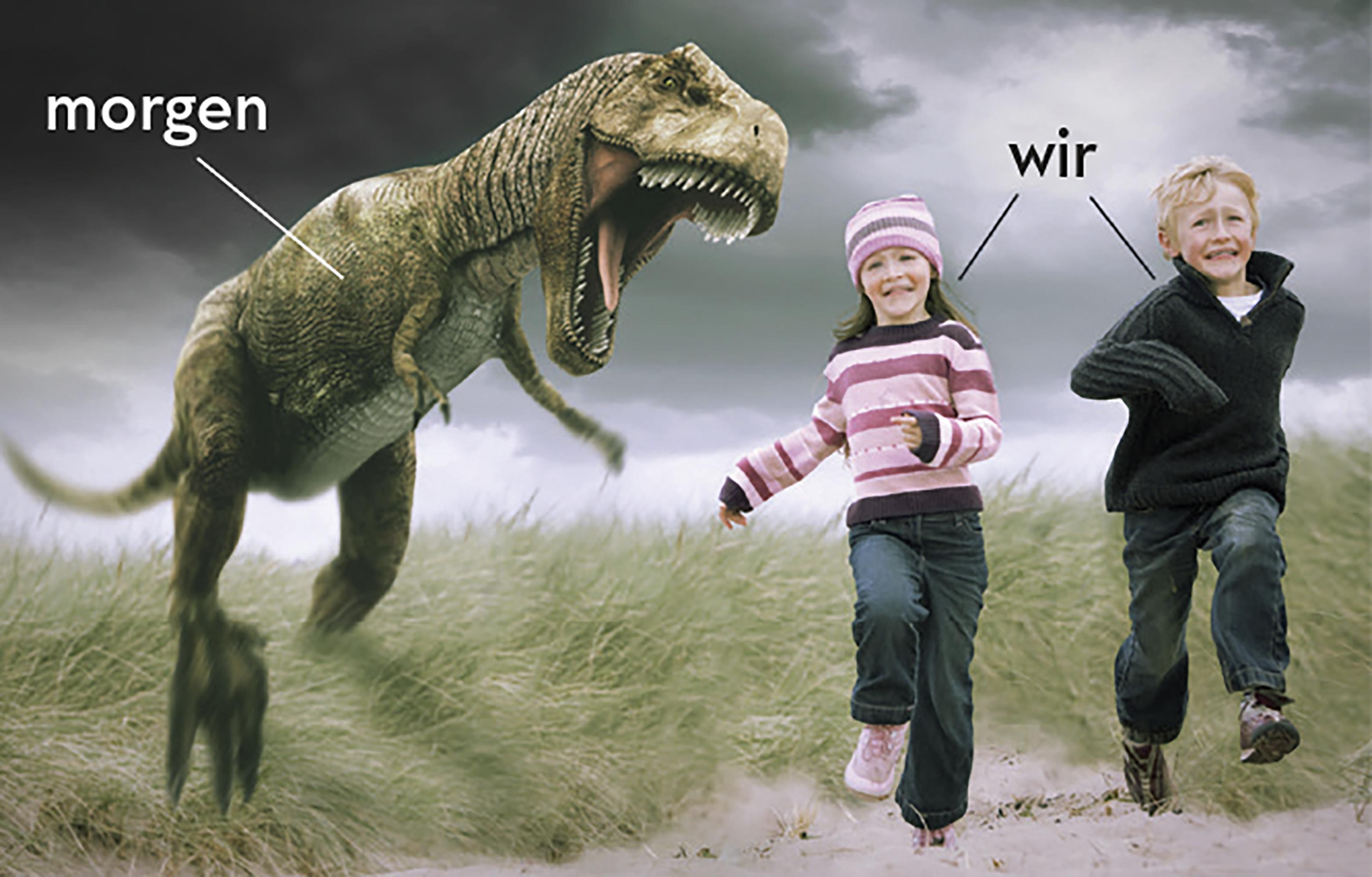 Dinosaurier jagt Kinder