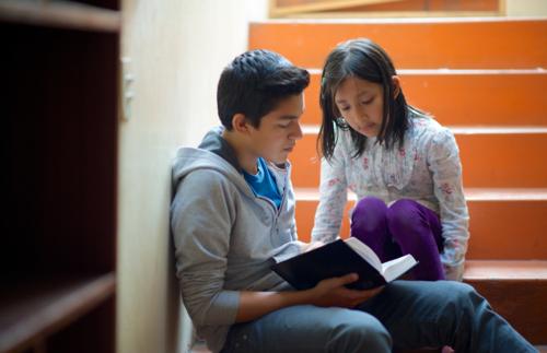 Ein Junge liest im Buch Mormon