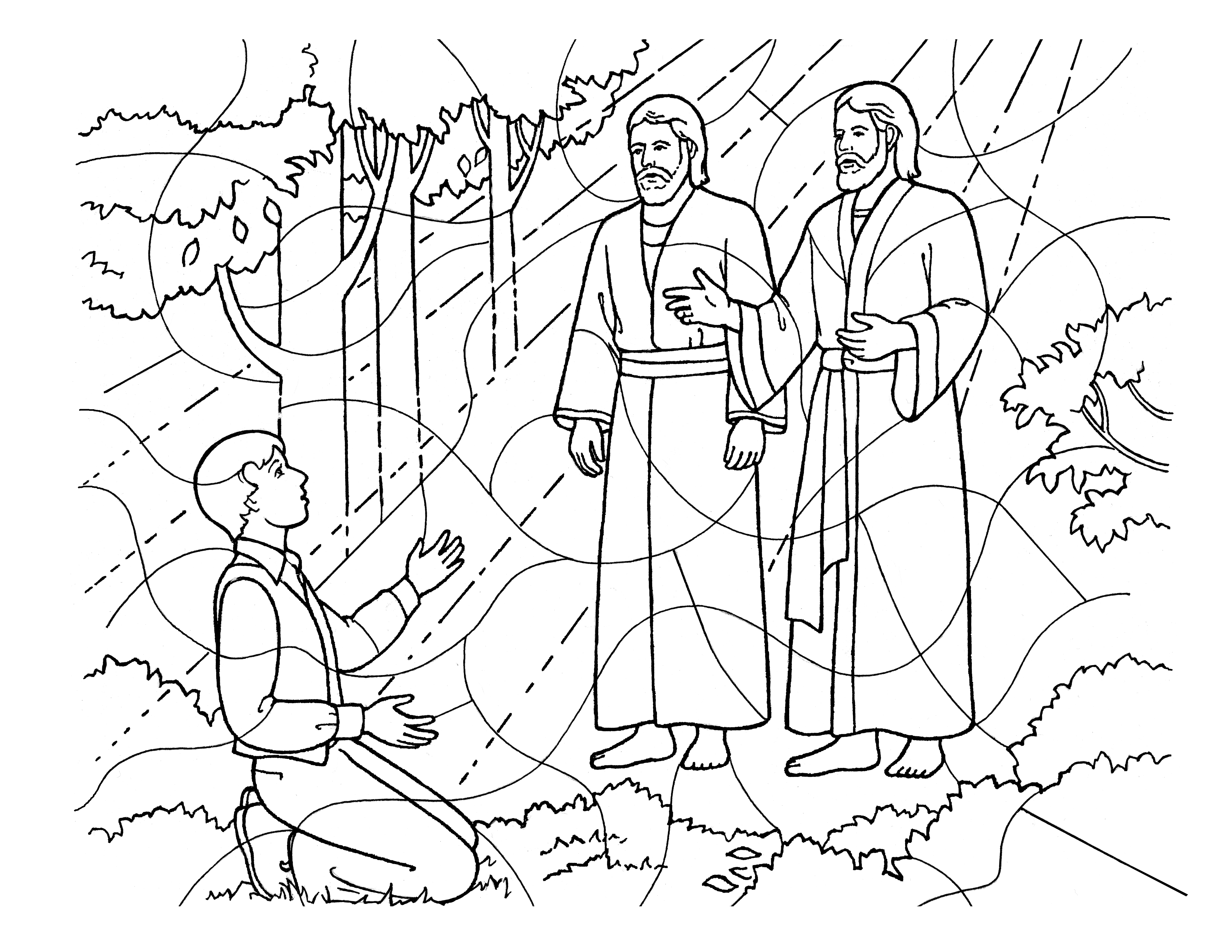 A coloring page of Heavenly Father and Jesus Christ appearing to Joseph Smith.
