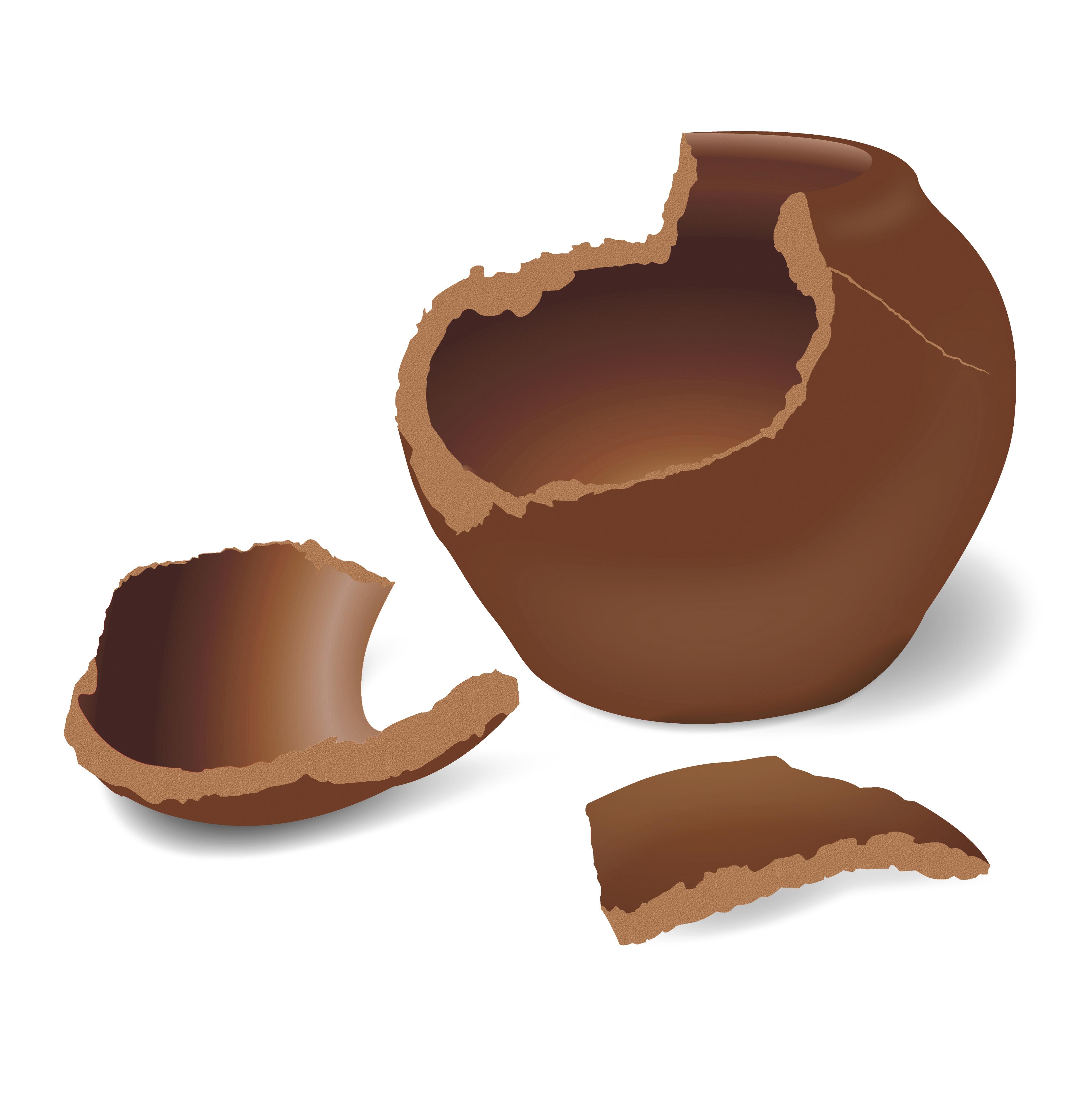 Illustration of a broken clay pot.