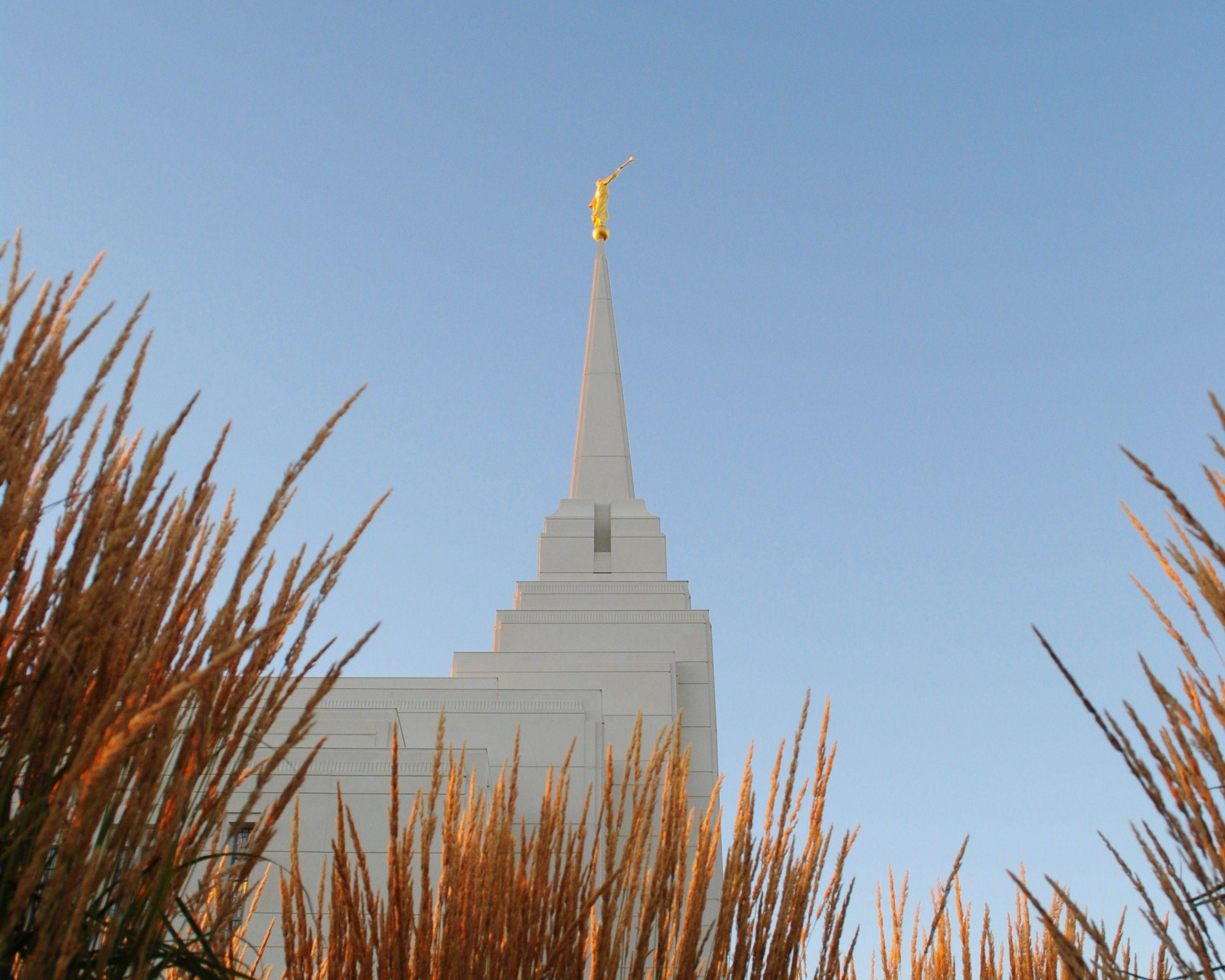 The Rexburg Idaho Temple spire, including scenery.