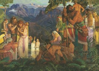 Alma Baptizes in the Waters of Mormon, by Arnold Friberg