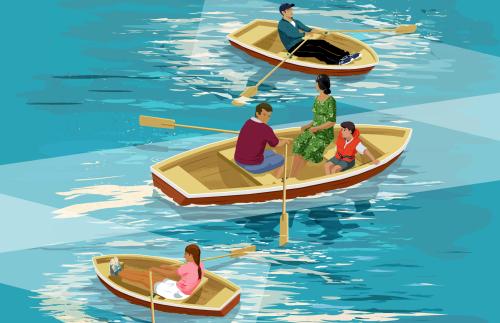 Families- row boats
