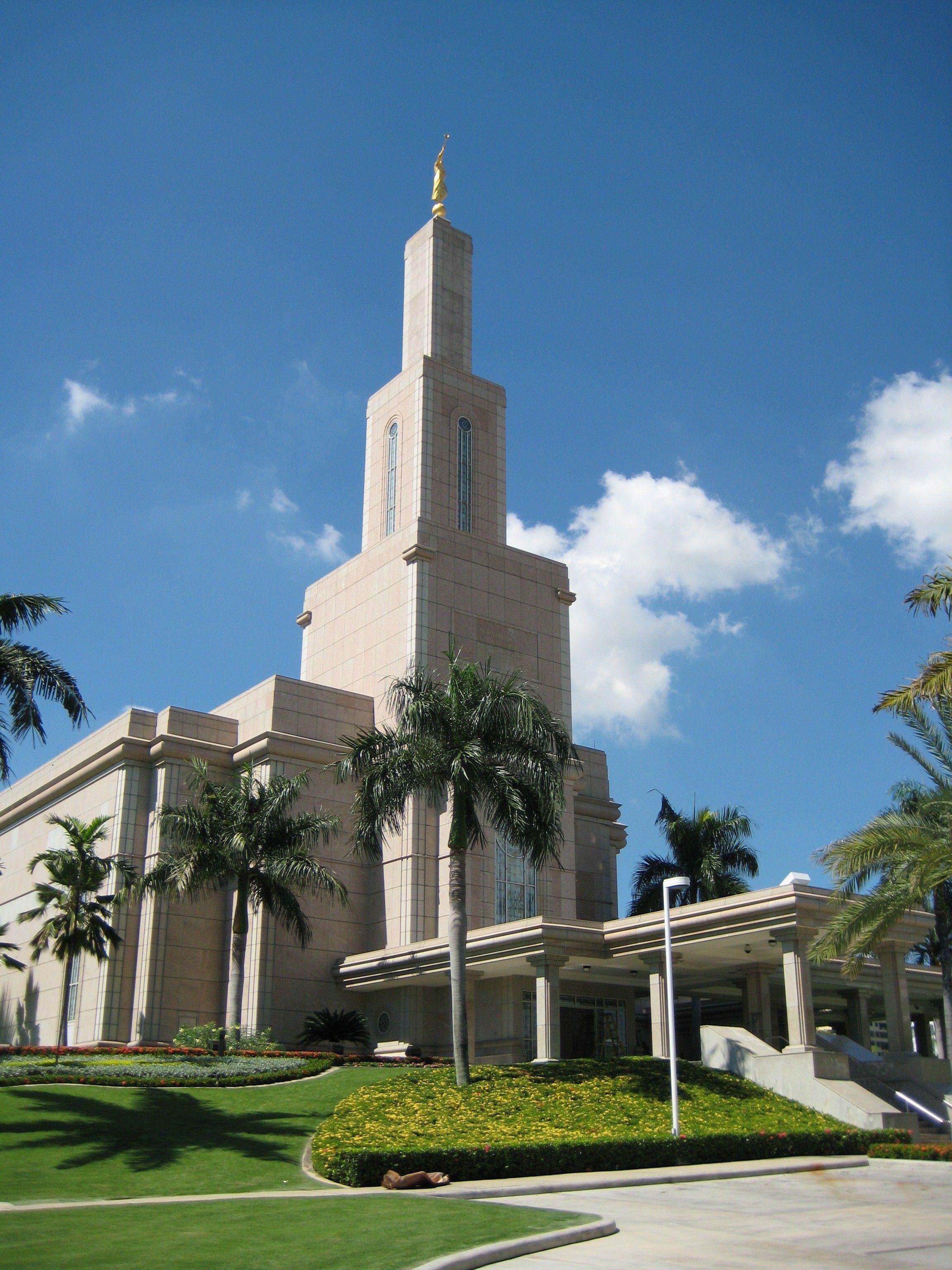 The Santo Domingo Dominican Republic Temple, including the entrance and scenery.