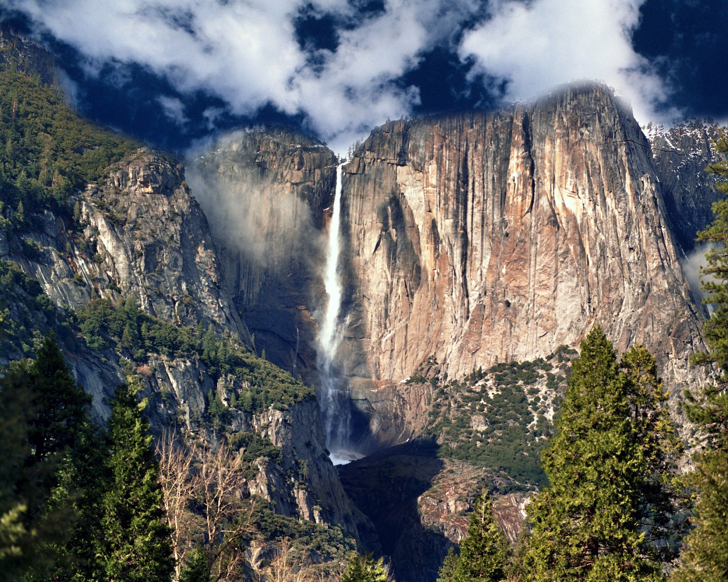 A waterfall over a cliff in Yosemite National Park.