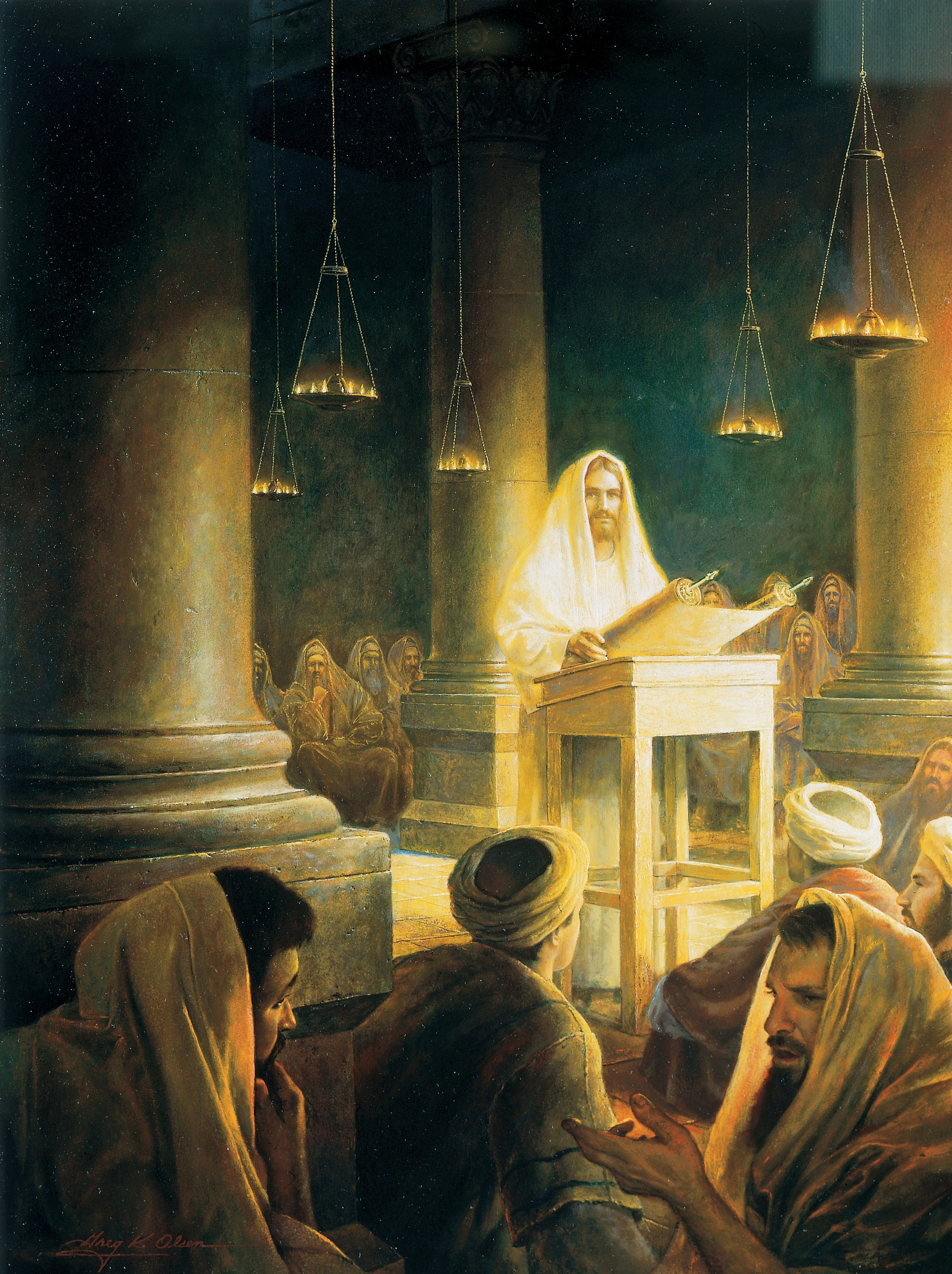 Jesus in the Synagogue at Nazareth, by Greg K. Olsen