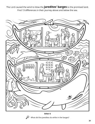 The Jaredite Barges coloring page