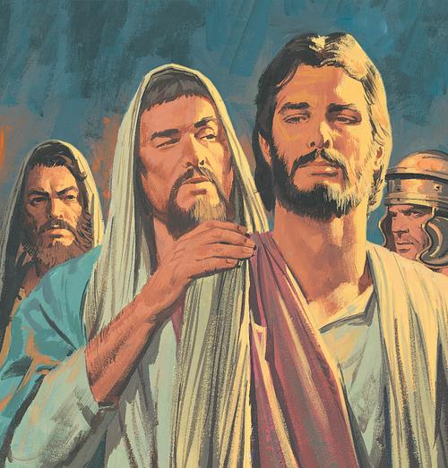 Judas standing by Jesus