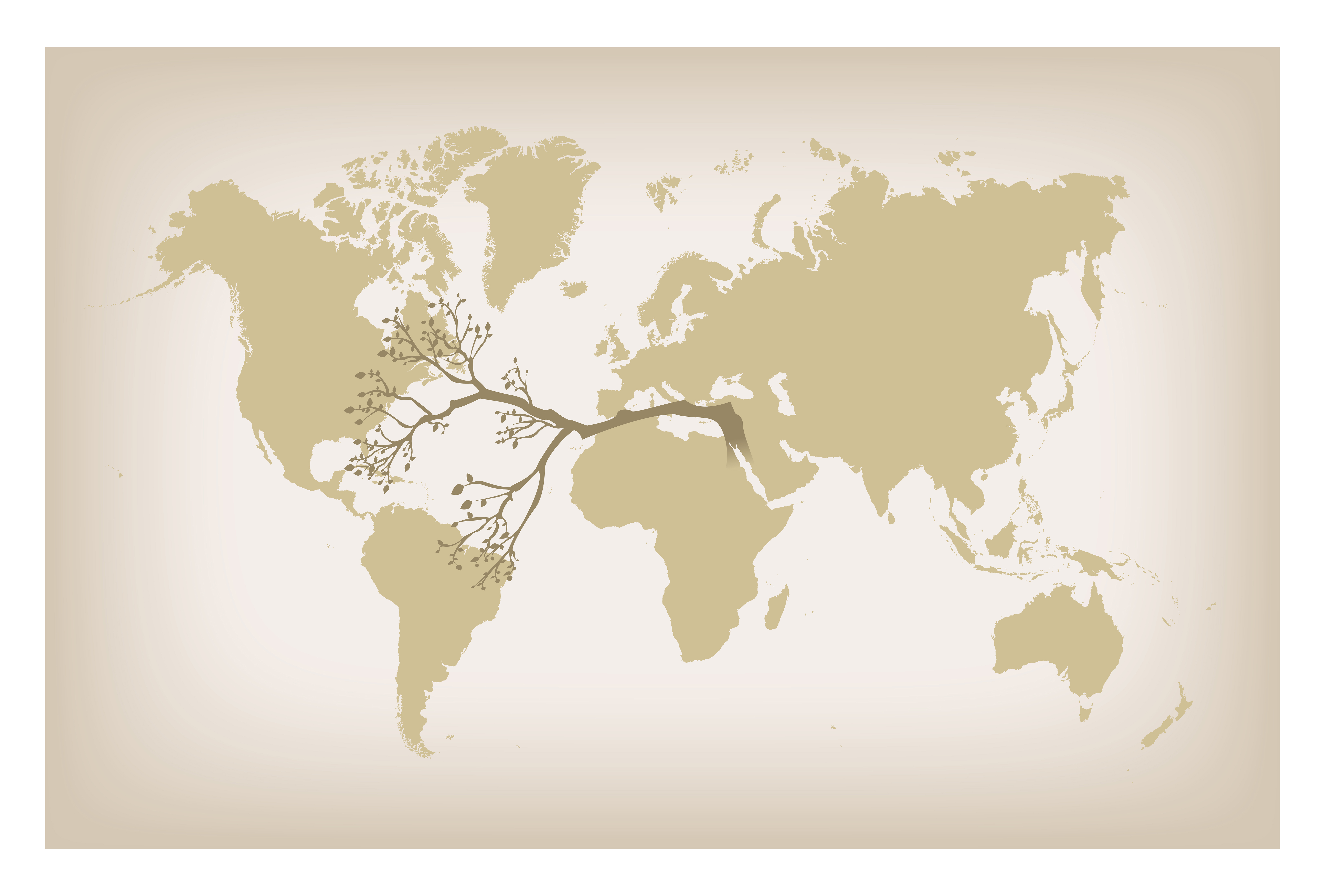 An illustration of a branch spanning several continents on a world map.