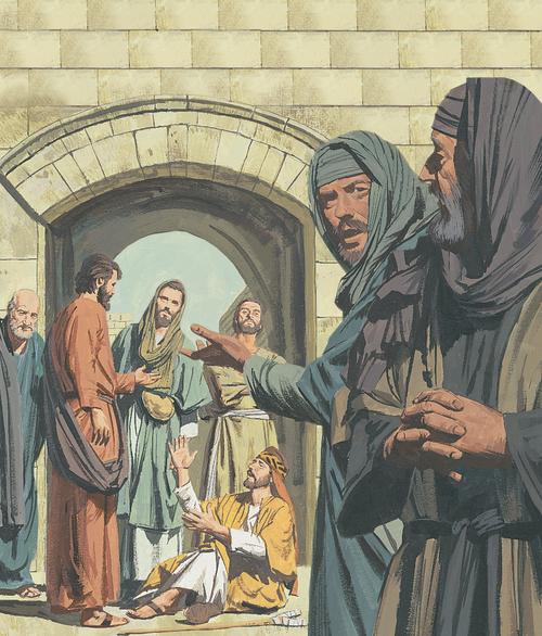 Apostles helping man