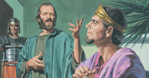 Paul teaching King Agrippa
