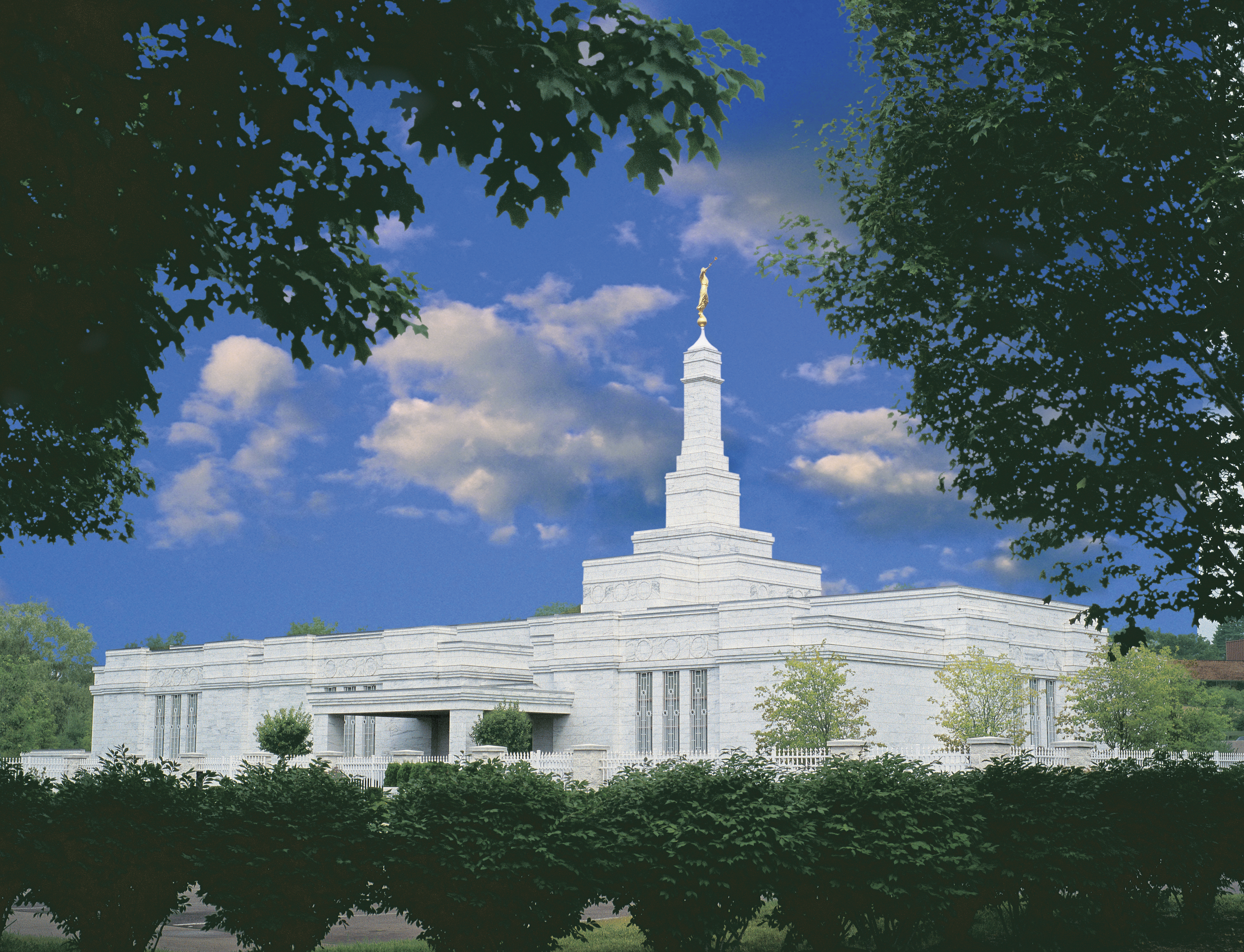 An exterior view of the Detroit Michigan Temple during the day.
