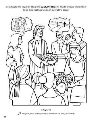 Jesus Introduced the Sacrament to the Nephites coloring page