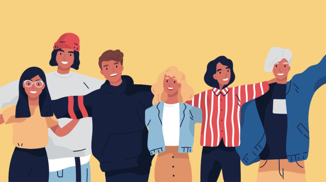 Ilustración de un grupo de hombres y mujeres jóvenes de pie juntos