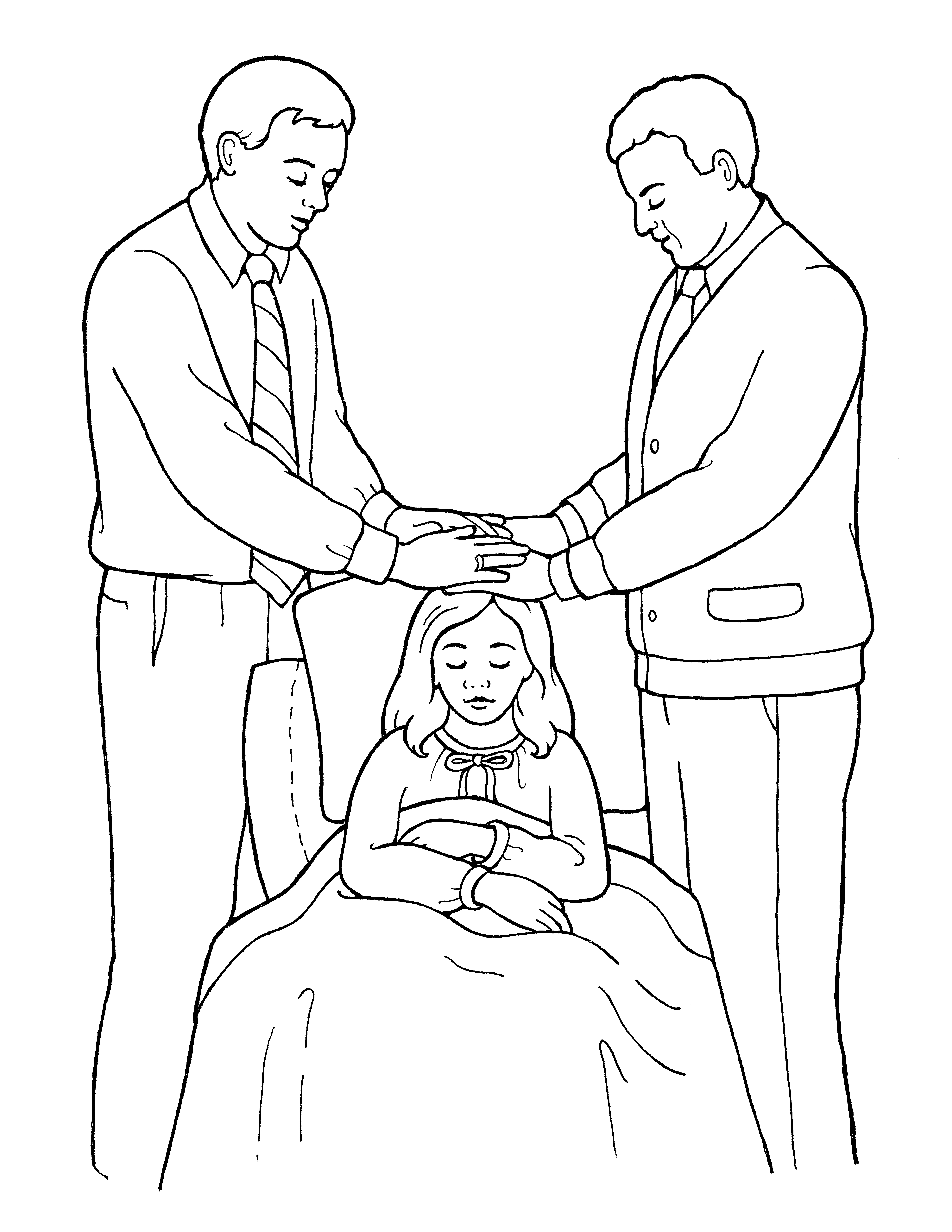 An illustration of two men blessing a sick girl, from the nursery manual Behold Your Little Ones (2008), page 119.