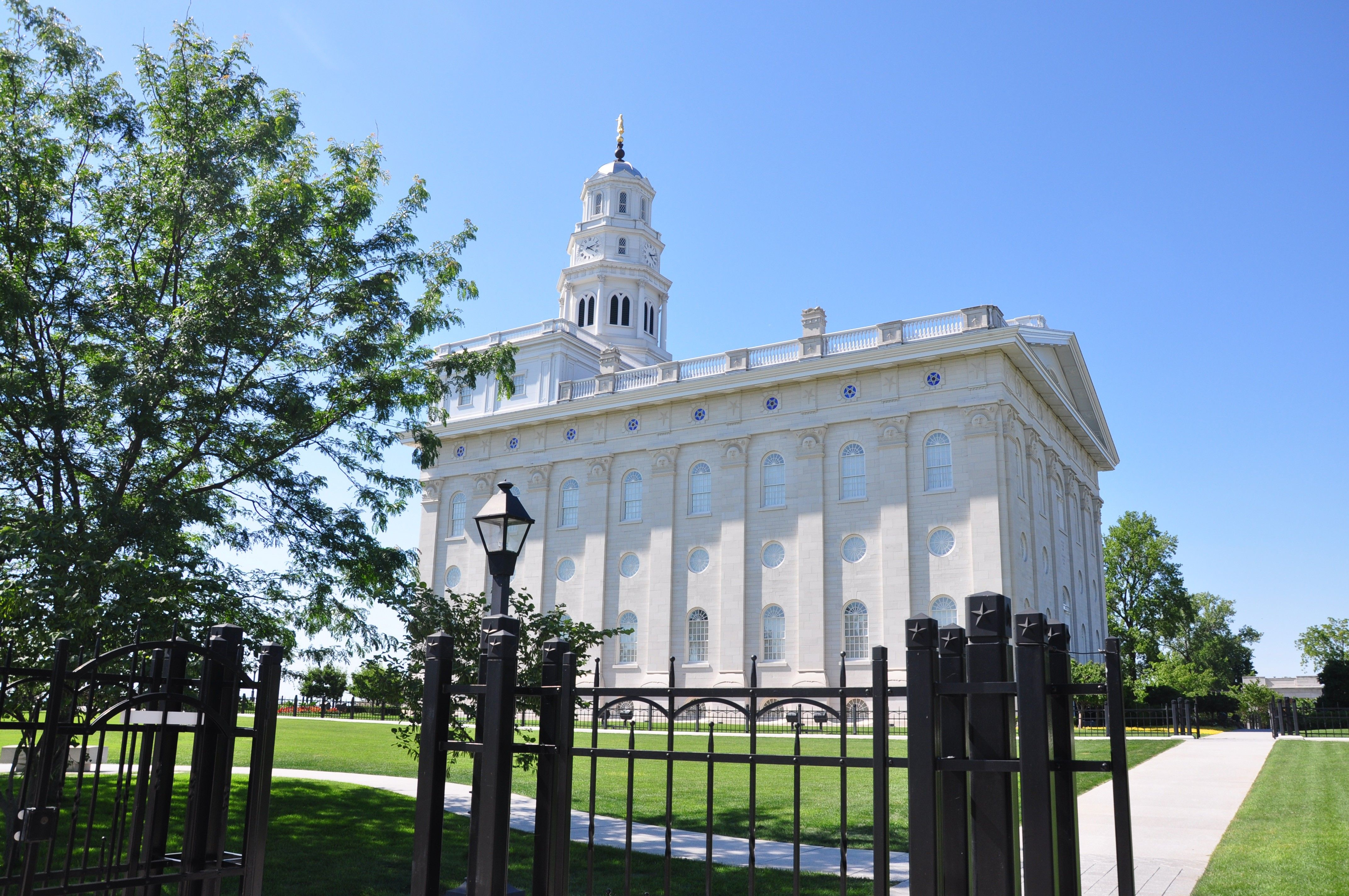 The Nauvoo Illinois Temple on a sunny day.
