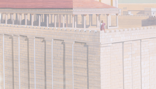 Jesus on roof of temple
