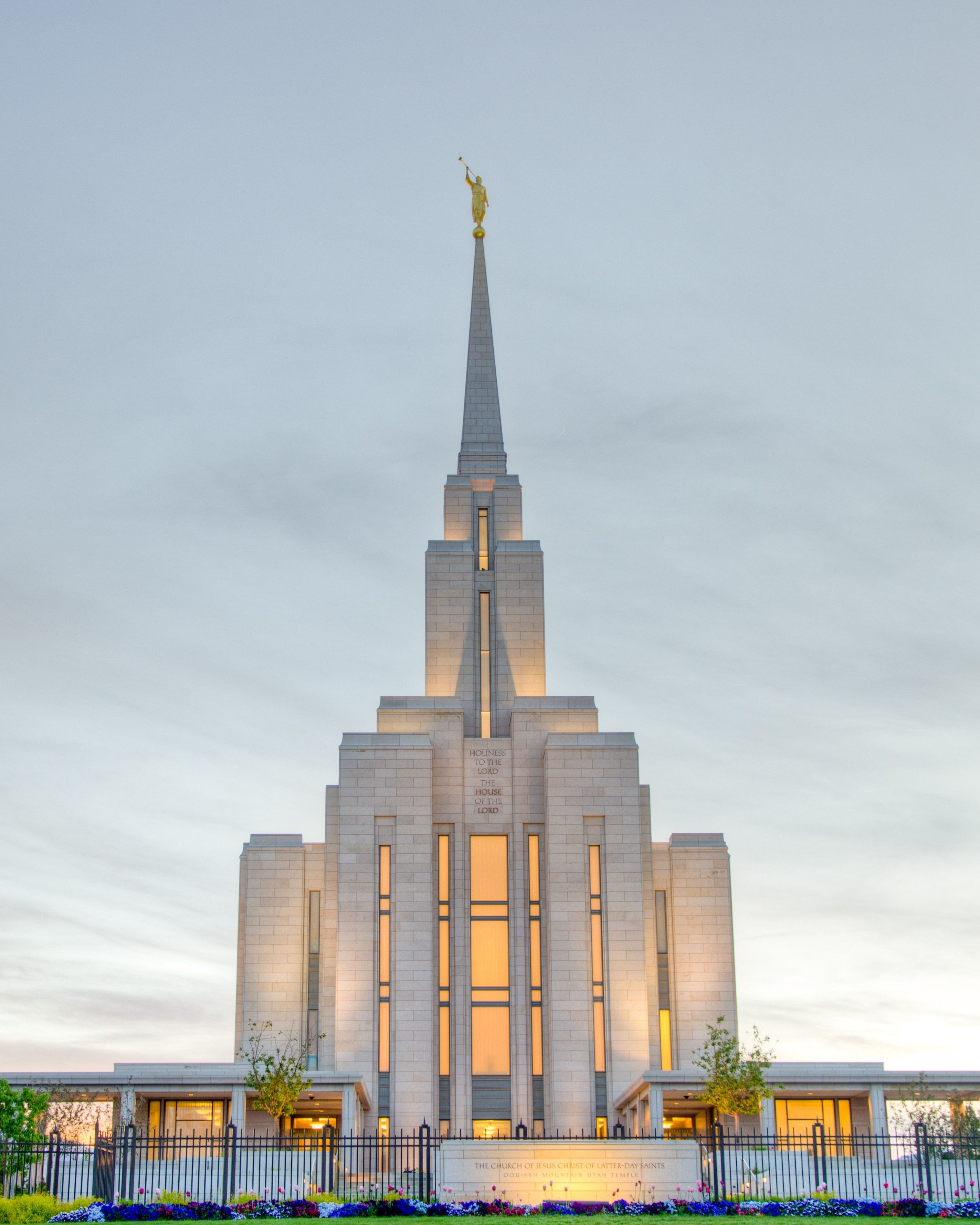 The Oquirrh Mountain Utah Temple, including the name sign, entrance, and scenery.