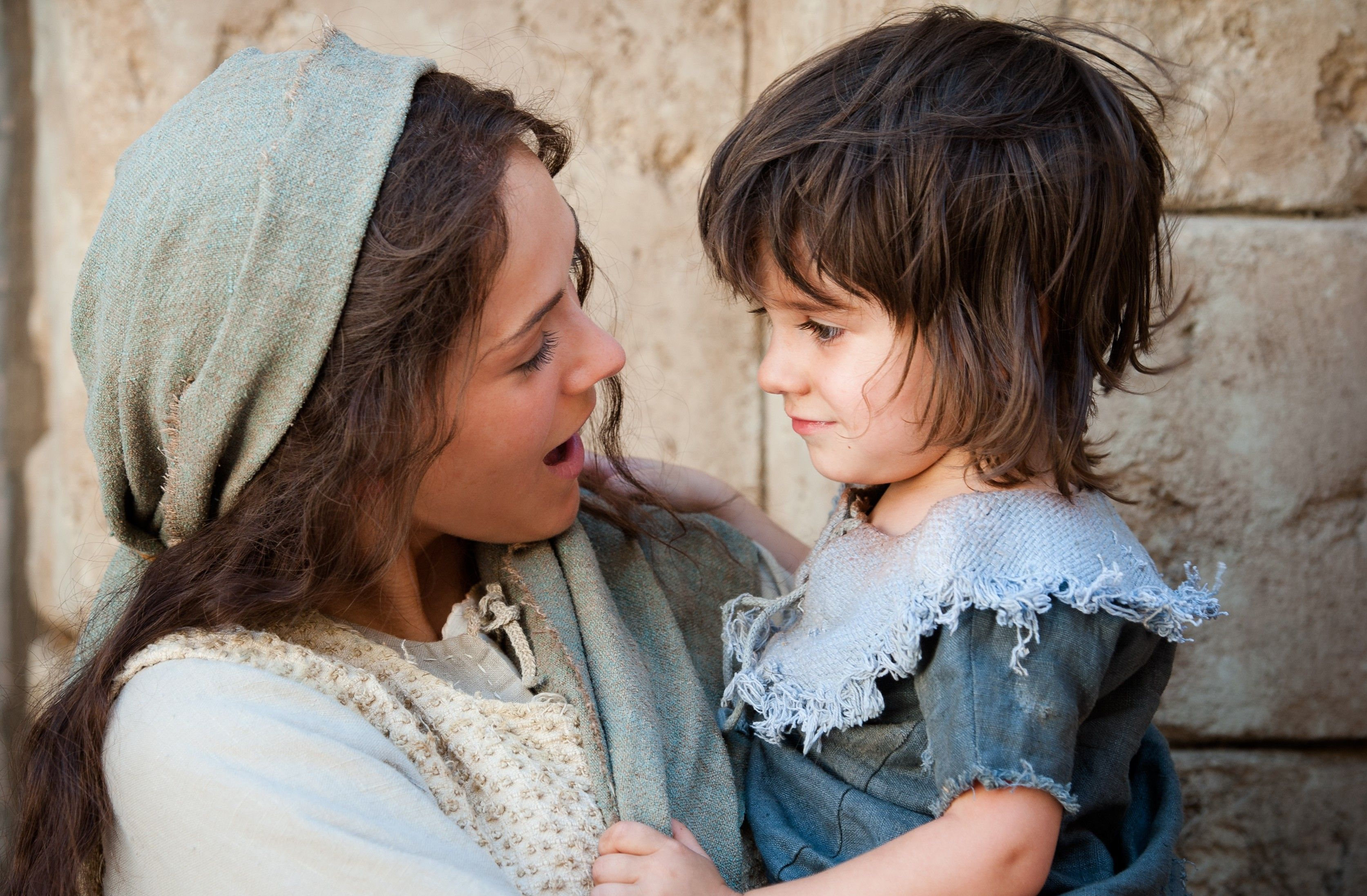 Mary and the young Christ child at the time the Wise Men brought gifts.