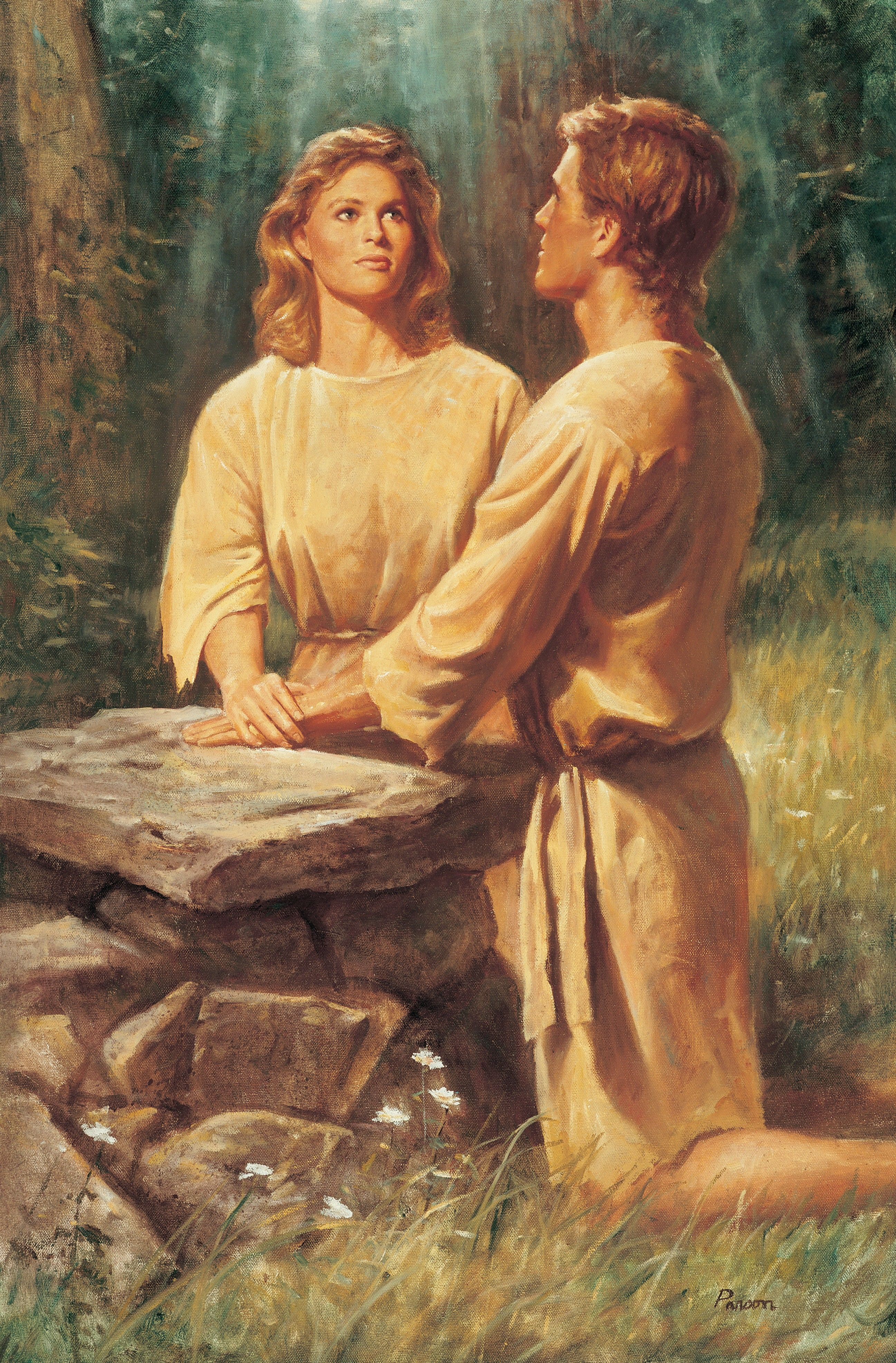 Adam and Eve Kneeling at an Altar, by Del Parson; GAB 4; Primary manual 5-56; Primary manual 6-05; 2 Nephi 2:17–25; Moses 5:4–11