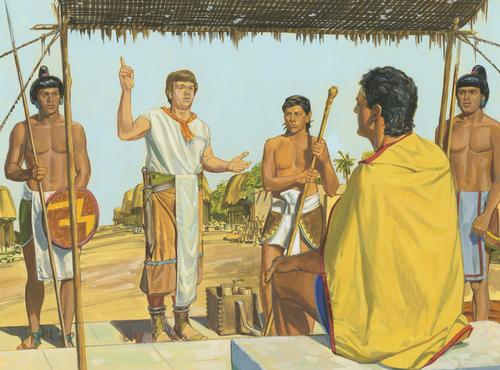 Ammon speaking to King Lamoni