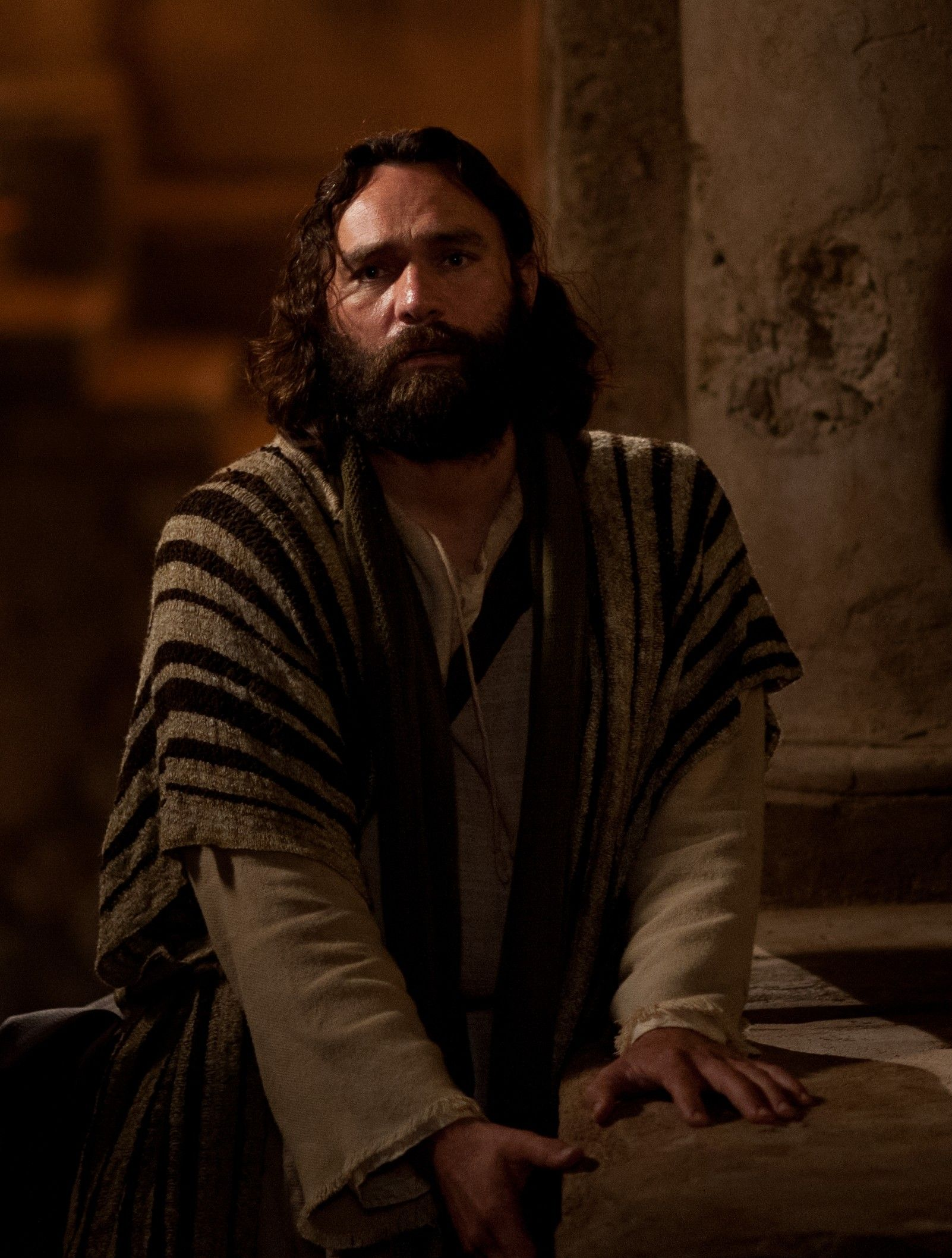 Peter looks distressed after denying his association with Jesus Christ.